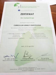 Zertifikat Umwelt-Zahnlabor